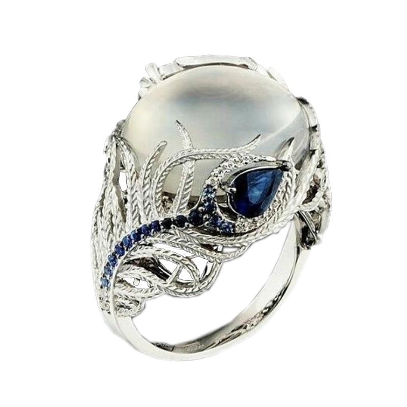 LNRRABC Blue Stone Finger Rings Stainless Steel Rings