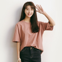 summer loose T shirt women solid color top o neck short sleeve T shirts young girls brown green and pink t shirt A588