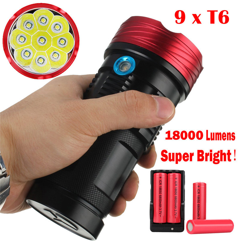 2017  New Goods Waterproof 18000Lumen 9x XML T6 LED Flashlight Torch Tactical Hunting Lamp Black & Red Match+Battery A1 mini portable xml t6 keychain led flashlight torch 3 mode 1600 lumen lighting lamp red zaklamp good quality