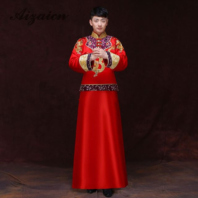 18b8febc6804d Red Groom Clothing Men's Costume Male Tang Suit Chinese Traditional Dress  Men Cheongsam Oriental Dresses Dragon