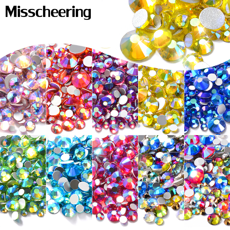 Mixed Size AB Colorful Crystal Nail Art Rhinestones Non Hotfix Flatback Glass Stones 3d Glitter Decorations Gems For DIY Nails nail tool glass flat back nail art crystal ab glue on non hotfix rhinestones for nails diy nail accessori decorations