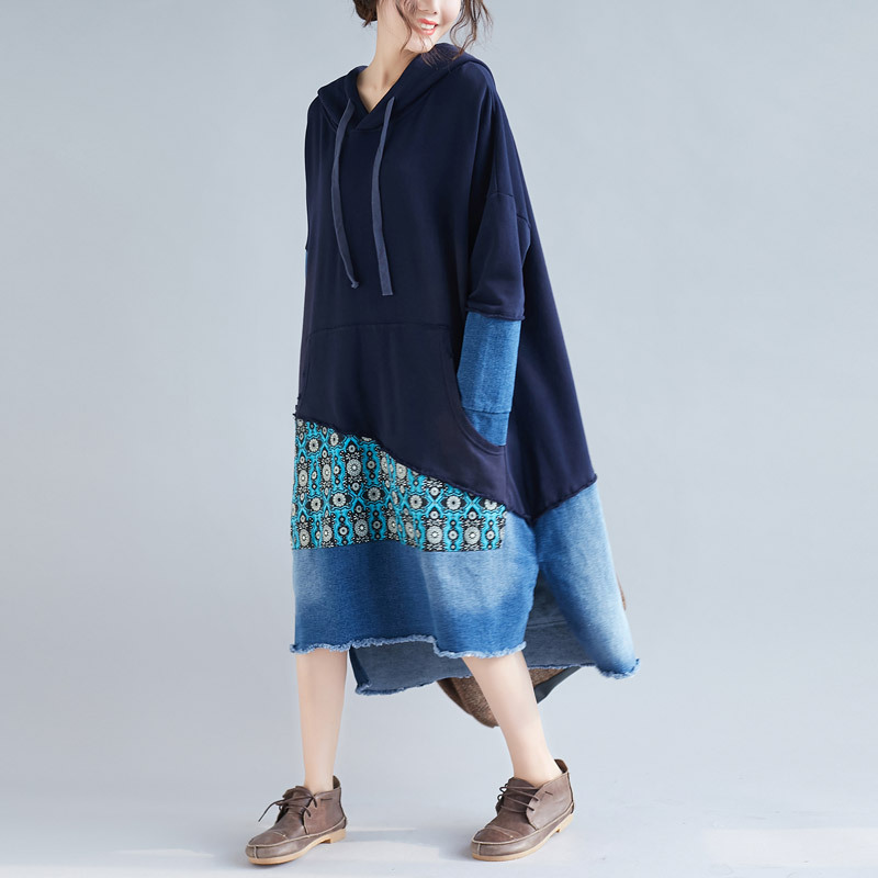 2019 Oversized Hooded Long Sweatshirt Dress Women Patchwork Loose Retro Pullovers Plus Size Baggy Drawstring Denim