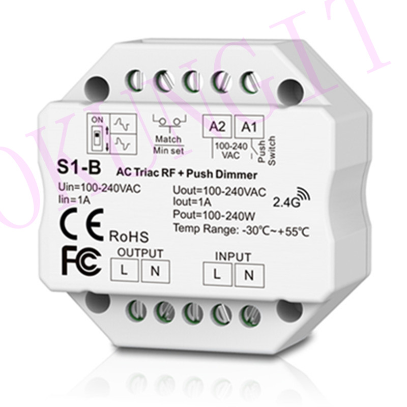 1CH*1A RF + Push AC Phase-cut Dimmer S1-B Controller Led Triac Dimmer Controller 2.4GHz RF Wireless Remote 1A Push Dimmer Switch