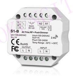 1CH * 1A RF + Push z fazą prądu przemiennego ściemniacz S1 B kontroler Led triaka sterownik ściemniacza 2.4 GHz RF bezprzewodowy pilot zdalnego 1A Push przełącznik ściemniacza w Kontrolery RGB od Lampy i oświetlenie na