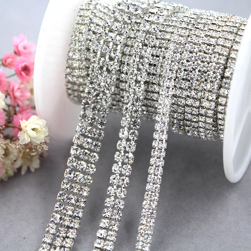 New Multi-row Clear White Rhinestones Chain Silver Base Glass Crystal Cup Chain Diy Frame/phone Case/bag/clothing Accessories