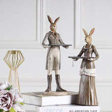 Vintage Home Decor Rabbit Figurines Desk Decorative Animal Resin Cute Miniature Figurines Creative Wedding Gift