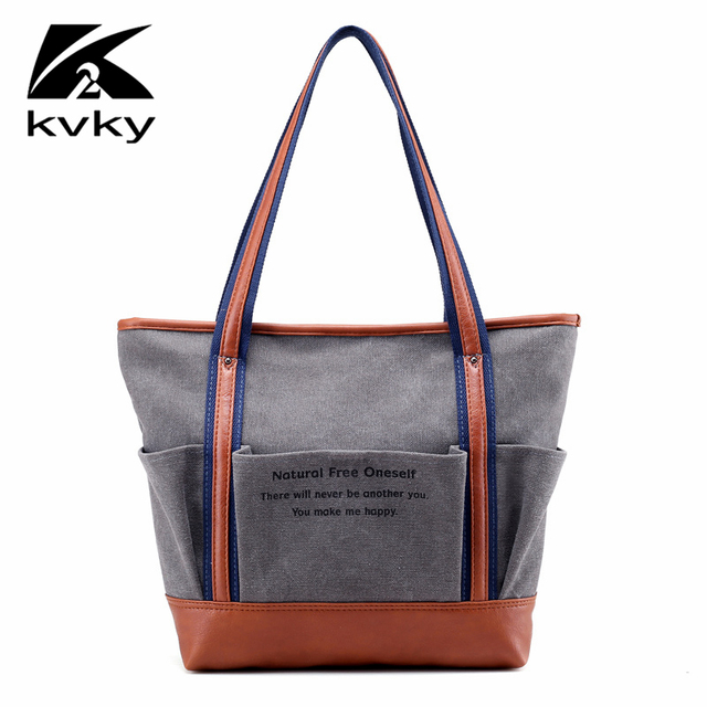 6bba35e6f8 KVKY Luxury Handbags Women Bags Designer Handbags High Quality Canvas Tote  Bag Fashion Ladies Soulder Bags