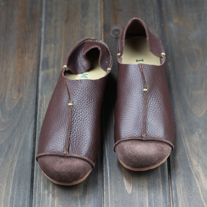 Womens Leather Slip On Loafers