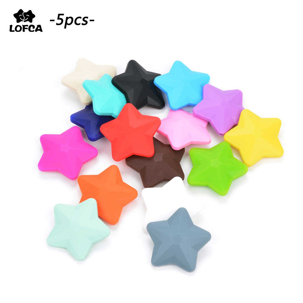 Wholesale 5pcs/lot Silicone Beads Star BPA Free Silicon Teething Beads Baby Chew Teething Necklace DIY Pacifier Clips Accessory