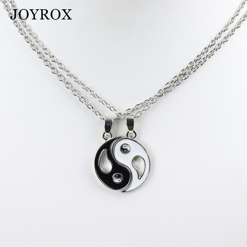 POPLOV 2pcs Best Friends Ying Yang Women Pendant Fashion Necklace Charm Drop Trigram Sweather Long Chain Lovers Jewelry Gift