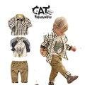 Kids costume 3pcs 2017 autumn baby boys clothes plaid shirt,t shirt,Retro pants  boys clothing set casual boy clothes