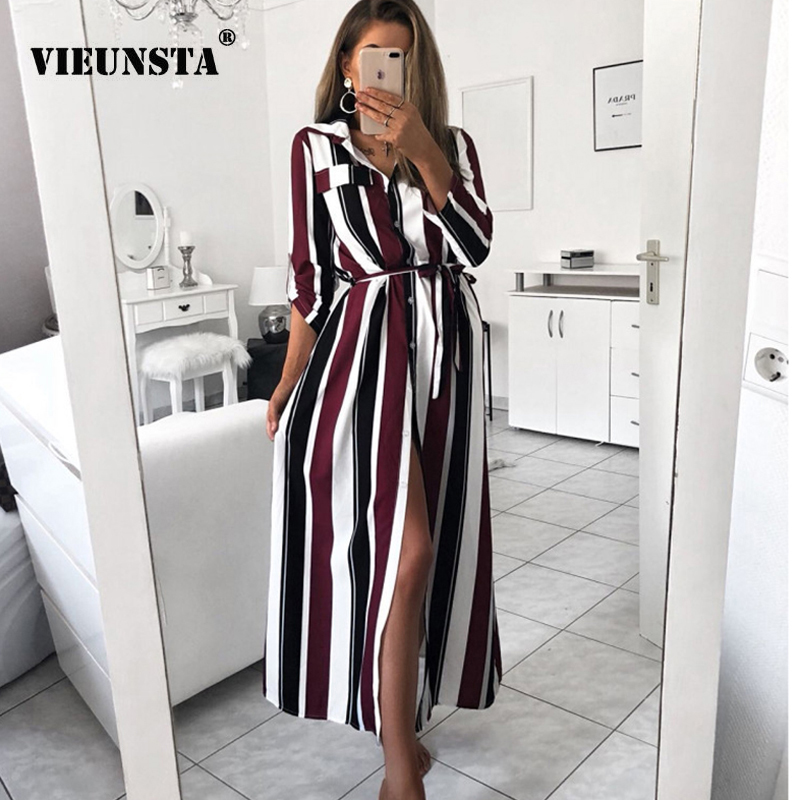 5fe62e7f56f1 Detail Feedback Questions about VIEUNSTA Fashion Turn Down Collar Button Long  Shirt Dress Women Spring Lace Up Striped Maxi Dresses Lady Long Sleeve Party  ...