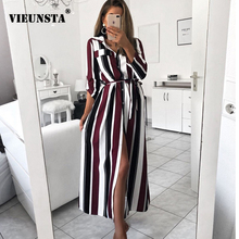 VIEUNSTA Fashion Turn-Down Collar Button Long Shirt Dress Women Spring Lace Up Striped Maxi Dresses Lady Long Sleeve Party Dress