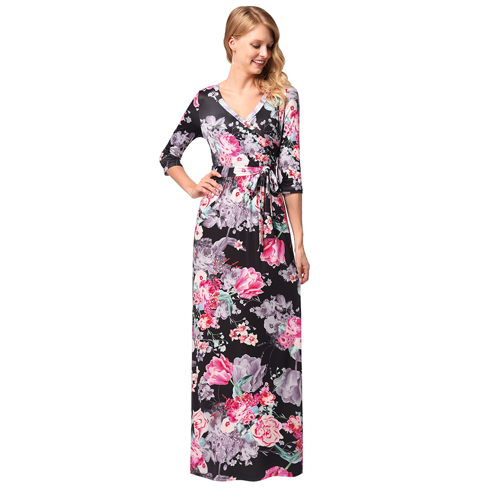 Plus Size Long Sleeve Floral Maxi Dress - Gomes Weine AG