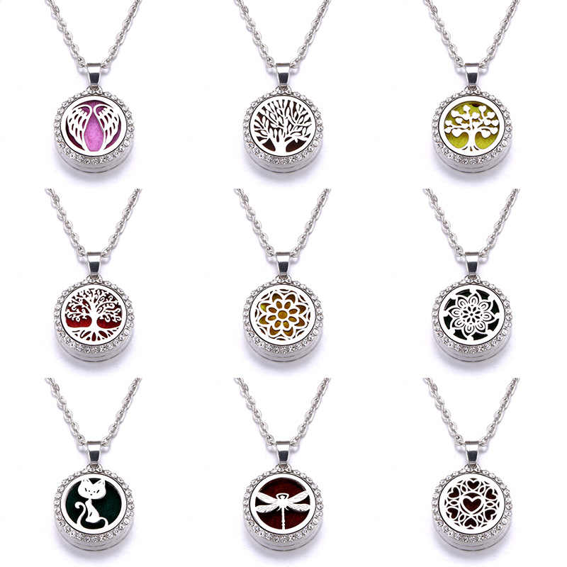 10 styles pattern Aroma Diffuser Zircon Necklace Stainless steel Pendant Perfume Essential Oil Aromatherapy Locket Necklace