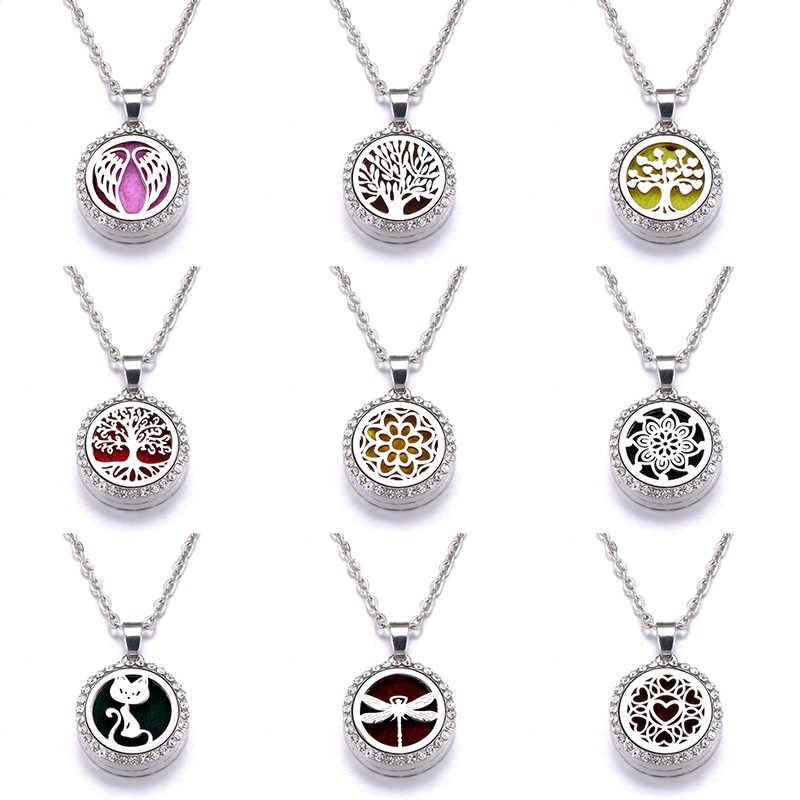 10 styles modèle arôme diffuseur Zircon collier en acier inoxydable pendentif parfum huile essentielle aromathérapie médaillon collier
