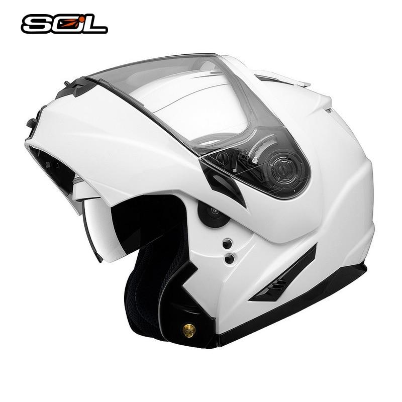 SOL Flip Up Casque Moto Casque Casco Moto Avec Intérieure Pare-Soleil Moto Racing Off Road Casque Avancée ABS Matériel