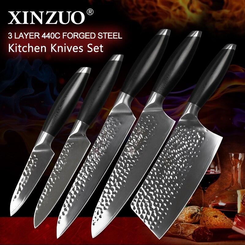 XINZUO Date 5 pcs Cuisine Chef Couteaux Ensemble Haute Teneur En Carbone En Acier Inoxydable Chef Couperet Tranchage de Fruits Utilitaire Couteau de Cuisine Outils