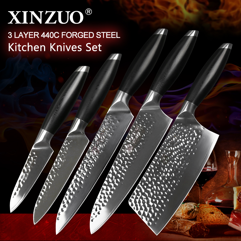 XINZUO Newest 5 PCS Kitchen Chef Knives Set High Carbon Stainless Steel Chef Cleaver Slicing Fruit Utility Knife Kitchen ToolsXINZUO Newest 5 PCS Kitchen Chef Knives Set High Carbon Stainless Steel Chef Cleaver Slicing Fruit Utility Knife Kitchen Tools