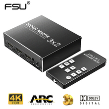 Hdmi matriz 3 em 2 para fora interruptor hdmi 2.0 4k 60 hz hdr 3x2 áudio extrator arco dolby som para xbox hdtv ps3 ps4 projetor