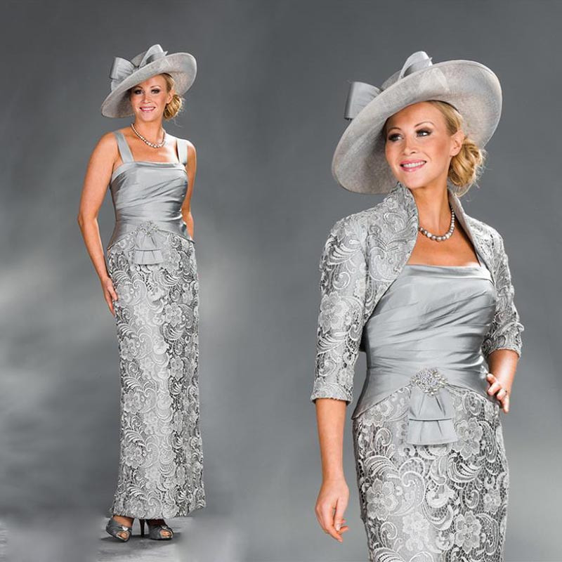 2019 Elegant Mother Of The Bride Guipure Lace Dresses With Jacket Vestido De Madrinha Sheath Silver Gray Lace Taffeta