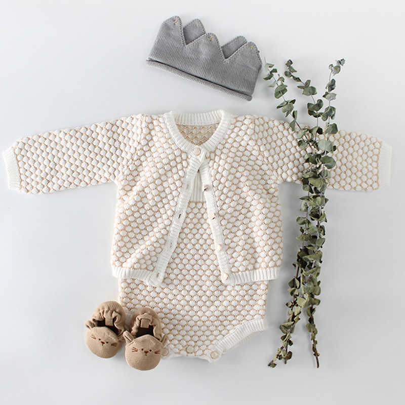 d37d9b5fb20 Baby Girls Clothes Autumn Baby knitted Romper Set Infant Newborn Baby Girl  Cardigan Boys Sweater Cotton