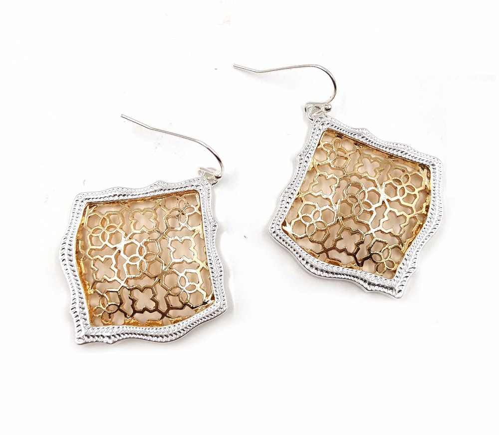 New Fashion Hollow Out Square Filigree Water Drop Earrings For Women