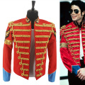 Rare Fashion Retro Punk MJ Michael Jackson Red Military Army Royal Retro England Style Men's Threading Jacket 1980S