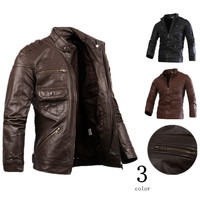 high quality 2019 Spring Autumn Men's Motorcycle biker Leather Washed PU Leather Coat stand collar European and American Jacket