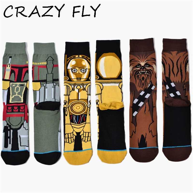 CRAZY FLY New Star Wars The Last Jedi Women Funny Cotton Socks Men Crew Long Happy Sock Male Winter Polo Warm Cartoon Print Sock