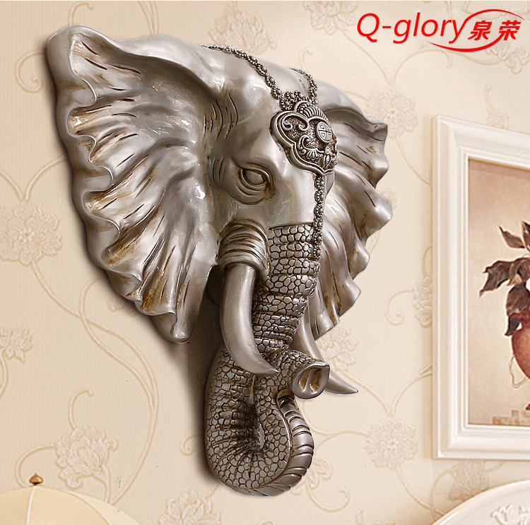 Q-glory Lucky Elephant Home <font><b>Office</b></font> Sliver Elephant head Wall <font><b>stickers</b></font> home decoration accessories Wall Statues Resin Figurines