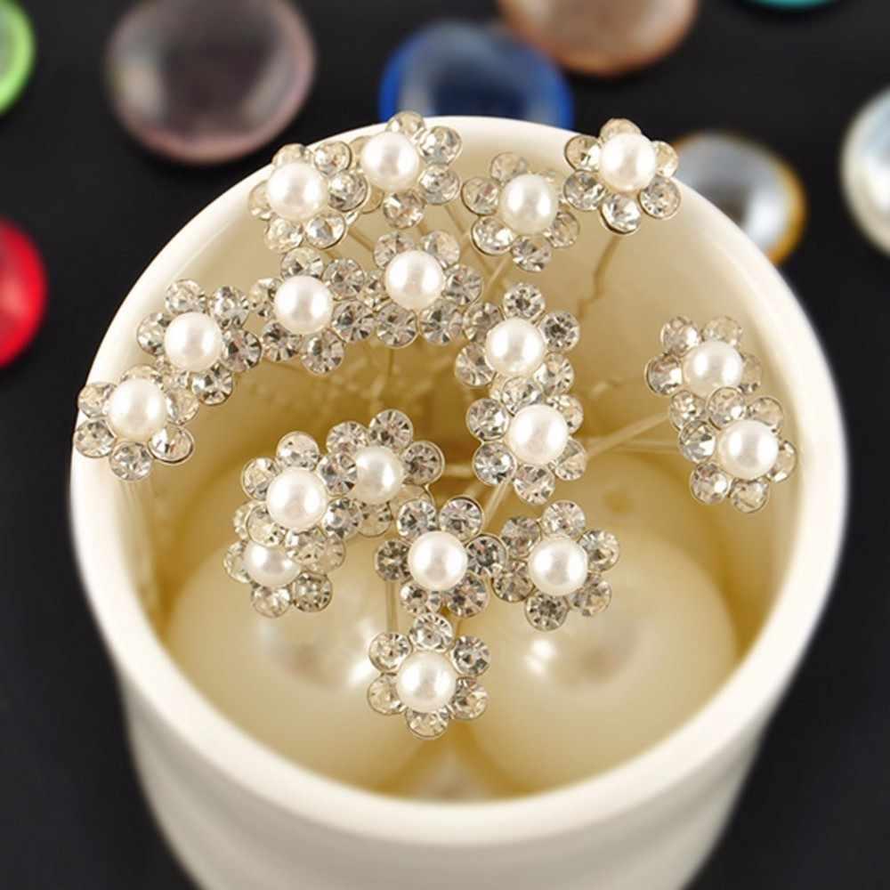 20 個ファッションウェディングブライダル真珠の花クリアクリスタルタルヘアーピンクリップ花嫁介添人 Hairwear ジュエリーヘアアクセサリー