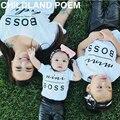 2017 Juego Trajes de verano de la Familia T-shirt Family Look Familia ropa a juego carta Jefe de Algodón padre madre del bebé ropa