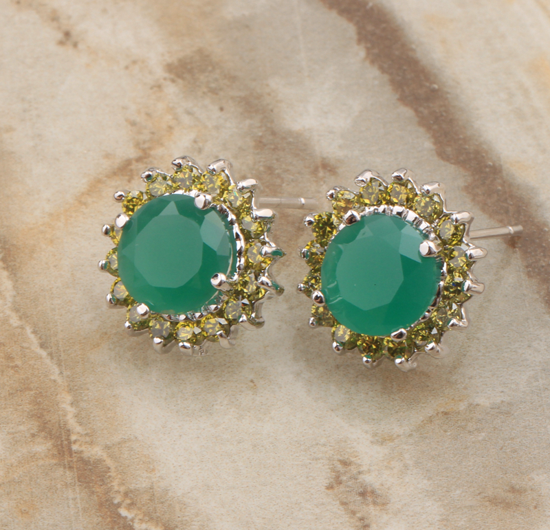 Special offer Green Peridot Limited Around Circle Gems 925 Sterling Silver Studs Earrings For Women Free Shipping S5196