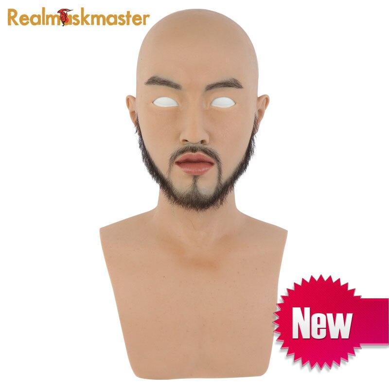 Realmaskmaster artificiel réaliste silicone adulte halloween masque pour homme fête fournitures latex plein visage partie mâle masques fétiche