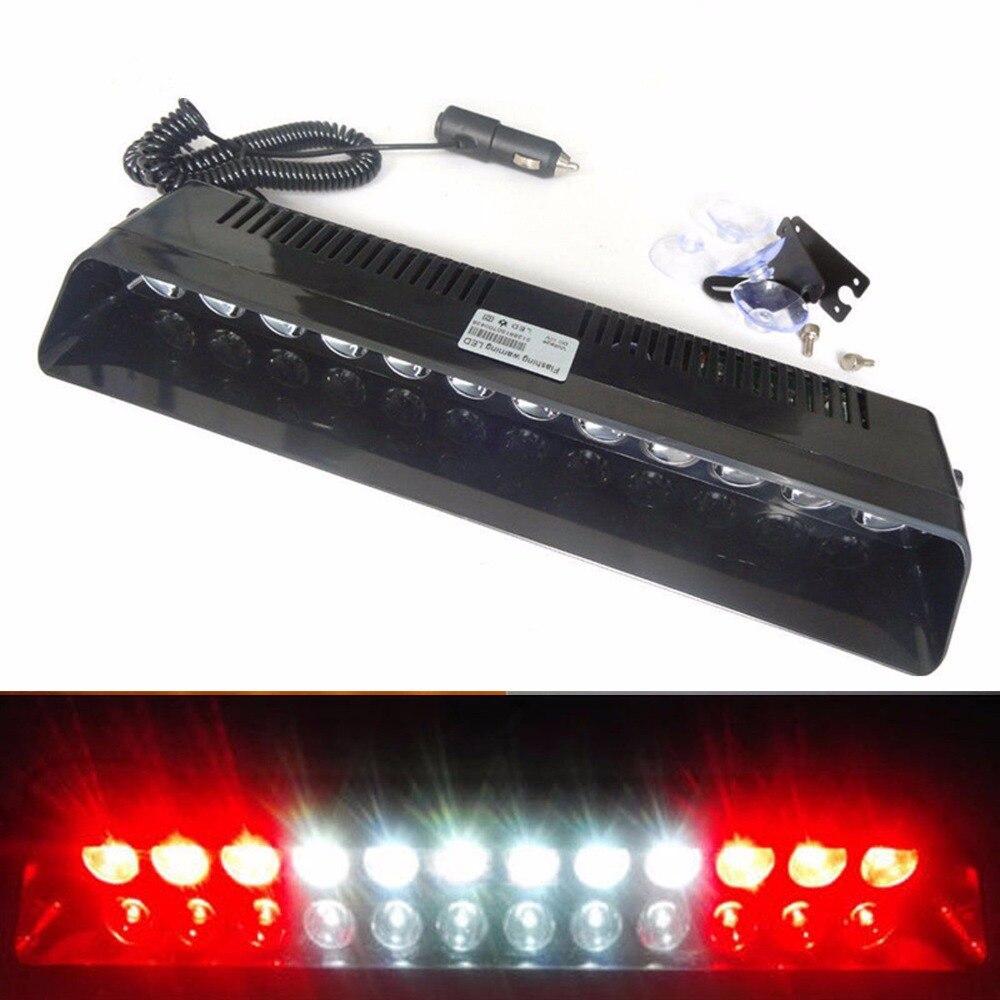 XYIVYG 12 LED 12 w S12 Voiture Vechicle Flash Stroboscopique Lumière D'urgence de voiture Pare-Brise Sucker Clignotant Avertissement lampe Rouge Blanc