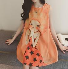 2017 moyen-long vêtements de maternité d'été de mousseline de soie a-ligne jupe imprimer sans manches femmes enceintes réservoir dress grossesse vêtements