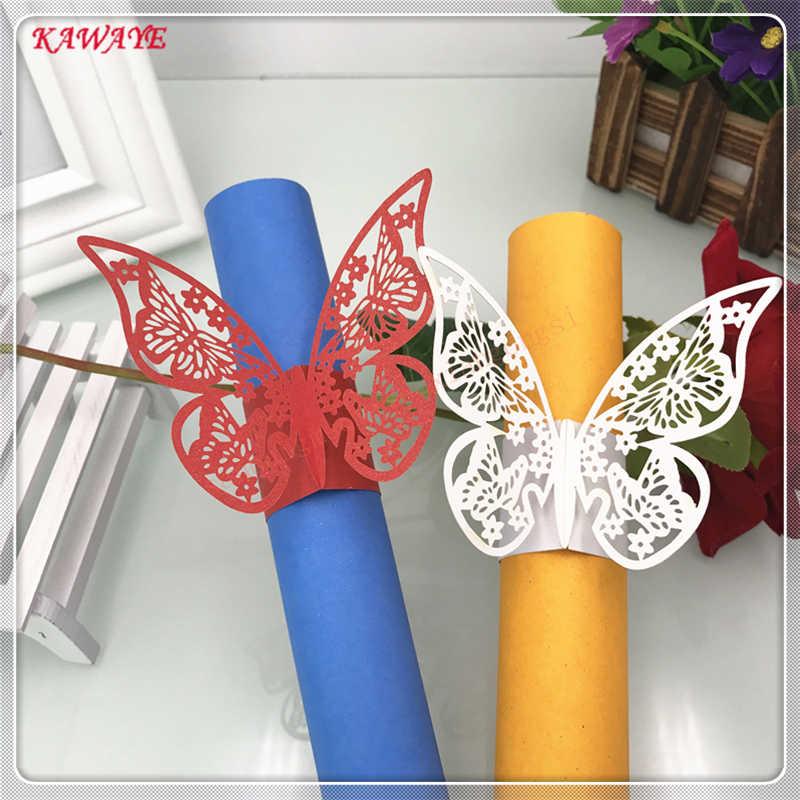 50 pc w stylu motyla do cięcia laserowego pierścień na serwetki romantyczne przyjęcie urodzinowe serwetka klamra Wedding Party Decoration ręcznik klamra 6ZM09