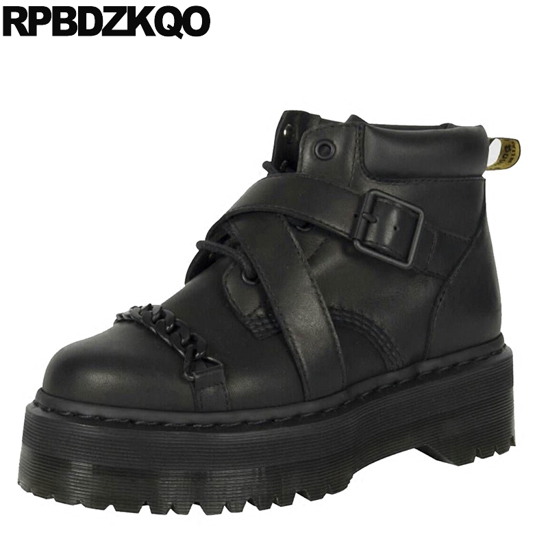 Harajuku Military Creepers Booties Chain Metal Genuine Leather Muffin Black Combat Shoes Ankle Lace Up Brand