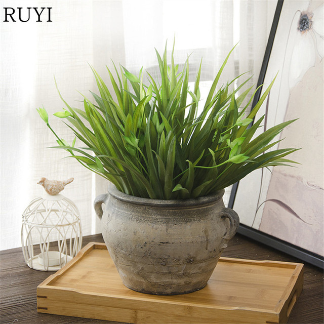 simulation chlorophytum leaf green plant indoor home decoration artificial  plant wedding party office table accessories 1pcs-in artificial plants from Artificial Plants Indoor Decoration