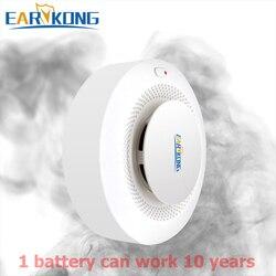 433MHz Senza Fili di Fumo di Allarme A Basso Consumo di energia Della Batteria Funziona Più di 10 Anni Per La Connessione Wifi PSTN Sistema di Allarme di GSM Per WPG G2B ecc.