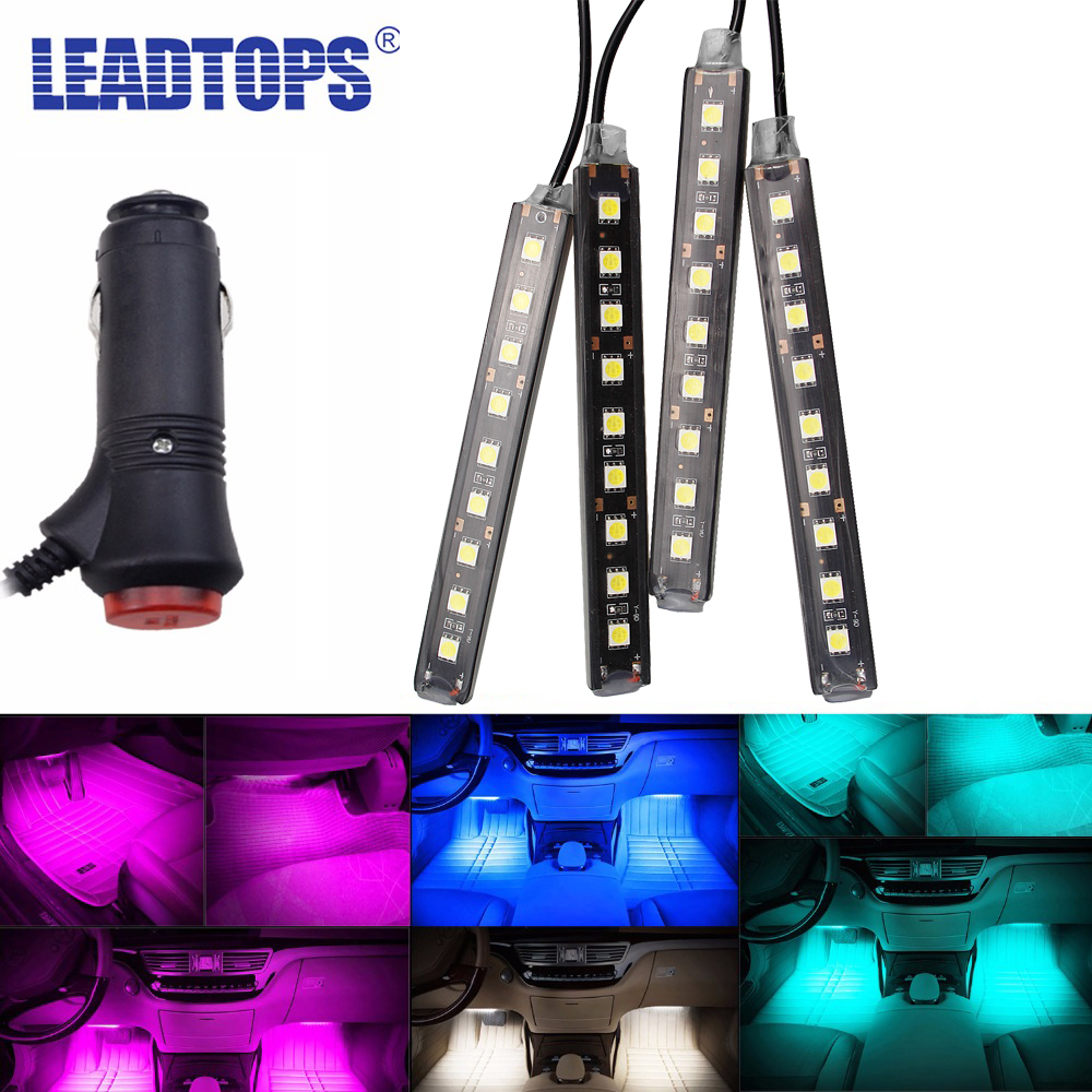 LEADTOPS One Set 9 Led 6 Colors Led Car Atmosphere Lights Decoration Lamp 12v Auto CarLed Interior Lights Glow Decorative BJ yijinsheng 4x12 led 7 colors car atmosphere lights decoration lamp 12v auto interior lights glow decorative cigarette lighter