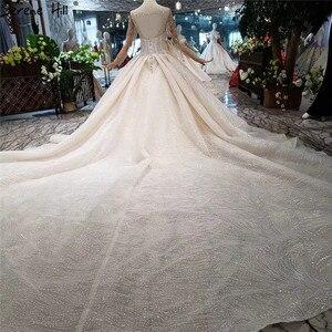 Image 2 - แขนยาวหรูหรา Sparkle ชุดแต่งงาน 2020 VINTAGE High end ประดับด้วยลูกปัด Sequined เซ็กซี่เจ้าสาว Gowns HX0180 CUSTOM Made
