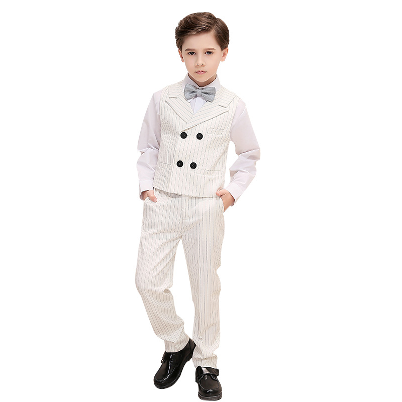 Costumes formels pour enfants ensemble garçons rayé costume gilet + pantalon tenues enfants mariage Piano Performance fête vêtements de bal