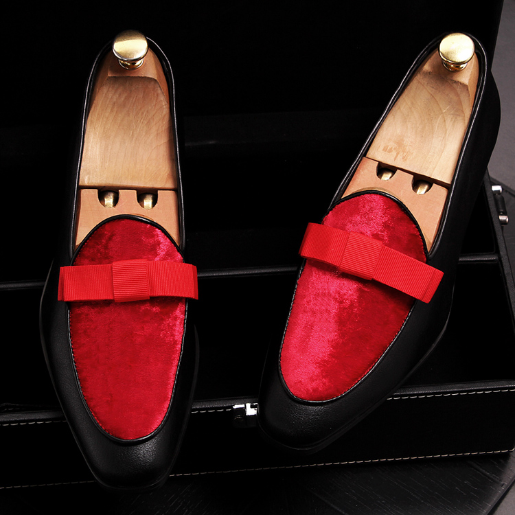 2019 Men Brand Dress Loafers Shoes Bow Tie Slippers Gentlemen Wedding Flats Casual Slip on Black+Red Suede Flats Shoes 12