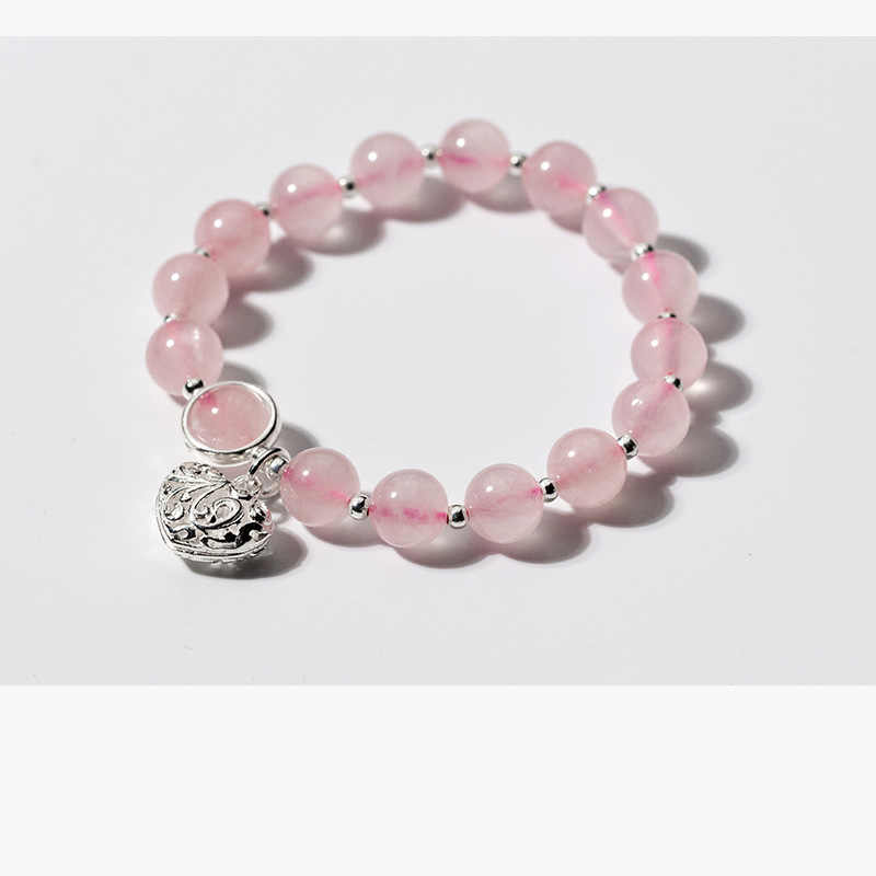 Real. 925 Sterling Silver Natural Pink strawberry quartz & Love Heart lucky beads charms Bracelet FLORAL GTLS770