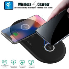 2 in 1 Dual QI Wireless Charger Fast Charging Pad Quick Wireless Charging For iPhone 8 10 X Samsung Galaxy S9 S8 S7 Edge Note 8(China)
