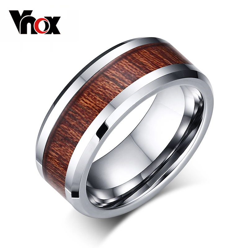 Vnox 100 Real Tungsten Carbide Ring Mens Wedding Ring Retro Wood