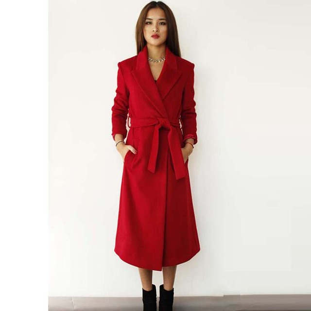2017 Fall Coat Women Lapel Belt Pocket Wool Blend Coat Oversize Long Red  Trench Coat Outwear - Aliexpress.com : Buy 2017 Fall Coat Women Lapel Belt Pocket Wool