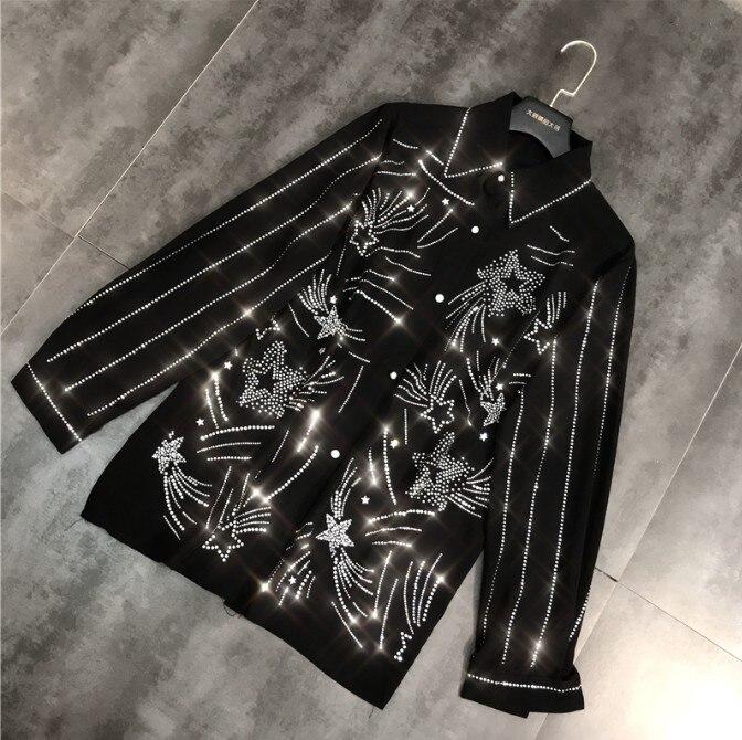 2019 nouveau printemps rayure verticale étoile chaude perceuse chemise noire à la mode femmes fille à manches longues mode Blouse femme haut Blouse